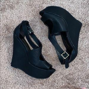 Candie's Black Wedge Sandals
